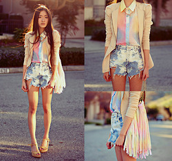 Jennifer Wang - Shopakira Fitted Peplum Jacket, Merrin And Gussy Chain Crosses Necklace, The Editor's Market Watercolor Print Blouse, Paradox Bleached Denim Shorts, The Editor's Market Pastel Fringe Bag - SUNSET BOULEVARD