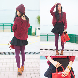 Nicole T - Asos Skirt, Asos Tights, Topshop Booties, Zara Bag, Lowry's Farm Jumper - SIX SHADES OF RED