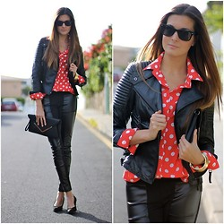Marianela Yanes - Zara Jacket, Queens Wardrobe Shirt, Primark Clutch, Queens Wardrobe Pants - Dots and leather