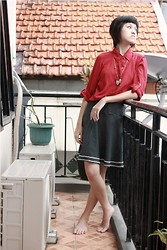 Yunita Yapi - Red Blouse, Polkadot Skirt - Simply Outfit on Chinese New Year_February 10th 2013