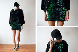 Sietske L - Motel Rocks Sequin Dress, Choies Baseball Jacket, Monki Cap - Sequins and baseball