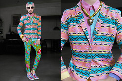 Andre Judd - Pastel Navajo Blazer, Pastel Color Block Butotn Down Shirt, Pastel Colored Floral Print Trousers, Navajo Print Slip Ons, H. Custodio Gold Tube Neckpiece With Gold Leopard Pendant, Gold Round Frames - STRAWBERRY SHORTCAKE