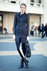 Leslie K - Vera Wang Leather Sleeved Coat, Alexander Wang Bag, Rag & Bone Pants - Leather details for nyfw