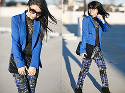 Melanie Y - H&M Blazer, Chanel Quilted Bag, H&M Printed Geo Pants, Charlotte Russe Lace Top, Warby Parker Sunnies, Sam Edelman Black Suede Booties - Black & Blue