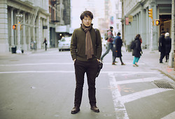 Jeff Me - Cashmere Scarf, Banana Republic Wool Pullover, Johnny Farah Messenger Bag, Gap Lived In Slim Pants, Dr. Martens Brogue Shoes - IT'S DANGEROUS TO GO ALONE.
