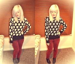 Victoria Alice - Topshop Red Acid Wash, Ebay Skull Print Sweater - Holding On To A Fairytale
