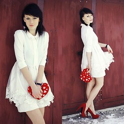 Katarzyna Konderak - White Dress, Bananna Heels - ♥Happy Valentine`s Day!♥