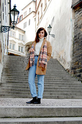 Megan Ellaby - Mango Cream Cashmere Mix Poloneck, Topshop Camel Wool Boyfriend Coat, Burberry Esque Scarf, Levi's® Levi's 501 High Waisted Jeans, Topshop Black Leather Ballet Pumps - 80's Neutrals in Prague