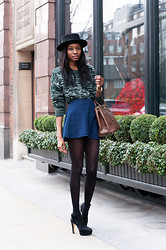 Natasha N - Beyond Retro Hat, Asos Jumper, American Apparel Skirt, Zara Heels - Chelsea, London
