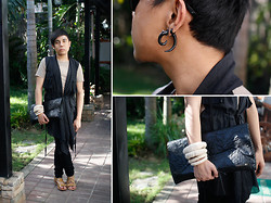 Juan Lorenzo - Curved Spike Earrings, Jinumo Desert Storm Waistcoat, Nereku Clutch Bag, Paradigm Shift Cuff, Zara Pants, The Red Pumps Sandals - ROAD TO ZION