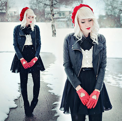 Kerti P. - Leather Jacket, Crystal Embellished Blouse, Choies Boots, Seppälä Heart Gloves, By My Mom Beret - To fix a heart you didn't break.