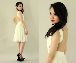 Stephanie D - Pinkaholic Backless Dress, Luxury Mall Heeless Shoes - Little White Dress
