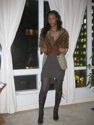 Gail C - Vintage Mink Fur Stole, Vince Sweater Dress, Topshop Cardi, Jones Boots - Winter Night... Cold and Staying in!