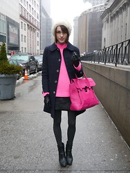 Ella Catliff - A.P.C. Navy Coat, Jaeger Neon Knit, Massimo Dutti Ankle Boots, 3.1 Phillip Lim Bag, Vintage Fur Hat - New York Fashion Week AW13: Day 5