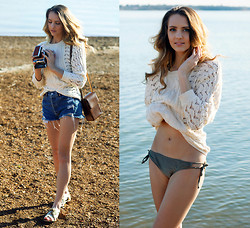 Madeline Becker - Quiksilver Cozy Beach Sweater, Urban Outfitters Distressed Denim Shorts, Urban Outfitters Sandals - COASTAL MINDSET (QUIKSILVER)