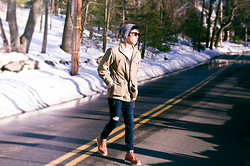 Tim Tsai - Lonely Vintage Keyhole Wayfarers, Red Wing 9106 Moc Toe, A.P.C. Men's New Cure Jeans, Madame's Vintage Student's Jacket, Gap Knit Slub Crewneck, Unknown Grey Beanie - The Golden Hour