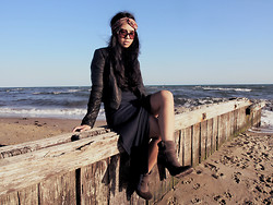 Kristel D - Motel Rocks Black Leather Jacket, Floral Headband, Navy Blue Maxi Dress, Ksubi Brown Boots, E.L Round Sunglasses - Sweet Disposition