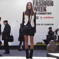 Anouska Proetta Brandon - Markberg Accessories Bag & Gloves, Zara Vest, Choies Shoes, Zara Skirt - LFW AW13 / Day 1 & Markberg Giveaway.