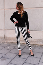 Bianca D - Primark Striped Pants - Monochrome Stripes
