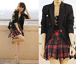 Anna  Dominique L. - Mango Blazer, Plaid Skirt, Round Glasses - Japanese Schoolgirl Kind of Day (The A List)