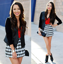 Jessica R. - Bebe Mini Skirt, Bcbg Moto Jacket, Merrin And Gussy Silver Bangle, Choies Clear Heel Ankle Booties - Harlequin and Ruby Red