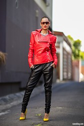 Micah Gianneli - R. By Micah Gianneli Leather Boyfriend Pants, Balmain Leather Quilted Jacket, Thierry Lasry Red Shades, Amber Sceats Countess Necklace, Lauren Marinis Gilda Pumps - Ante Up