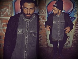 Denimtarian . - Denimtarian Beanie, Denimtarian X Long Shirt, No Name Cardigan - At midnight i´ll take your soul