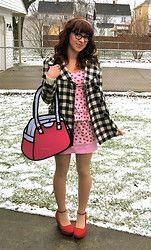 Amber M - Forever 21 Red Platform Wedges, I'm Your Present Strawberry Peplum Dress, Jumpfrompaper 2d Bag, Forever 21 Checked Coat, Cateye Glasses - Late valentine's date