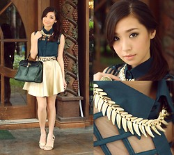 Kryz Uy - Fantasia Top, Fantasia Skirt, Wicked Drops Necklace - Emerald and Gold
