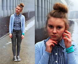 Karolina B - Shirt, Cubus Sweater, Diy Branclet - Sweater and striped shirt