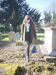 Alice B - Vintage Suede Jacket, Rokit Velvet Waistcoat, Velvet Skirt - With Your Feet In The Air And Your Head On The Ground
