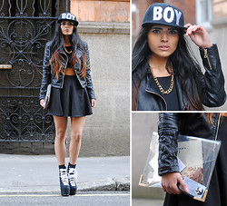 Kavita D - Boy London Snpback Cap, Missguided Crop, Missguided Leather Jacket, H&M Gold Chunky Chain, Unif Hellbounds, Ebay Clear Perspex Clutch, Romwe Skater Skirt - (BOY)London Fashion Week Day 2 a/w 13