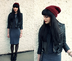Kayleigh B - Vintage Jacket, Topshop Grey Midi Dress - Raised By Wolves