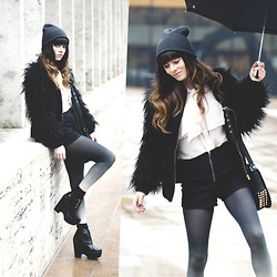 Rachel-Marie Iwanyszyn - Brandon Farrington's Suitcase Beanie, Zara Faux Fur Coat, Etsy Ombre Tights, Jeffrey Campbell Busted Platforms, Akira Studded Leather Bag, Reverie Chiffon Blouse, Http://Www.Jaglever.Com - MONOCHROME RAIN