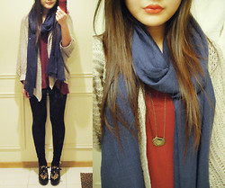 Mari H - H&M Navy Scarf, Esprit Oatmeal Knitted Cardigan, Wine Red Tee, Self Made Necklace - 6 6 6 6