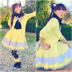 Natalia L. - Angelic Pretty Colourful Hearts Skirt, Bodyline Black Blouse, Blanco Heart Tights, Converse Black Leather Chucks - My love, itself, is limitless in its Energy.