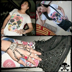 Wreyzza Swift - Thrifted Skull Shirt, Thrifted Leggings, Converse Studded Sneakers, Ebay Skeleton Armor Ring, Thrifted Faux Leather Bag - Terminator Hand! ☠