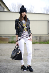 Alexandra Per - Mango Leather Jacket, Romwe T Shirt, Givenchy Bag, Reebok Sneakers, H&M Beanie, Suiteblanco Jeans - Black & white monday