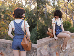 Sushi Girl - Modcloth Denim Romper, My Leather Alexa Satchel, Le Blog De Sushi Wood Land Bird Ring, Alannah Hill All For Glory Top - Summertime sadness