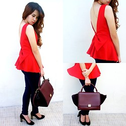 Princess T - Super Sale Bazaar Peplum Bow V Cut Back, Zara Leggings, Gucci Studded Heels, Céline Trapeze Bag - I LOV3 YOU
