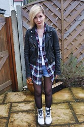 Cara E - Asos Plaid Shirt, Topshop Leather Jacket, Dr. Martens Boots - KARMA IS ALL AROUND ME