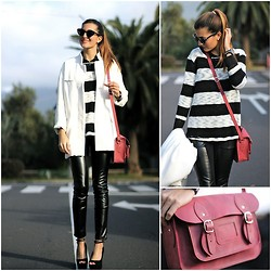 Marianela Yanes - Zara Coat, Pull & Bear Jersey, Imperio Clandestino Bag, Queens Wardrobe Pants, Zara Shoes - Black and White Stripes