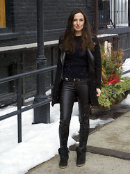 Emma Whyte - Zara Coat, All Saints Knit, Zara Pants, Guess? Belt, Topshop Sneakers - BLACK & SNOW