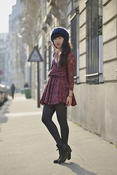 Leeloo P - Hat Mes Demoiselles, Dress Roseanna, Acne Studios Boots - Burgundy Lace