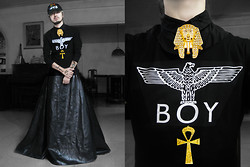 Andre Judd - Boy London Tee, Egyptian Brooch, Ankh Brooch, Arnold Galang S/S 2013 Leather Skirt, Proud Race I Heart U Cap - BLACK BALLOON