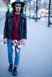Kevin Andrade - Jacaru Hat, Vintage Perfecto, Levi's® Jean, Dr. Martens Shoes - Free Spirit