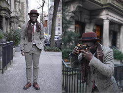 STEVEN ONOJA - Bailey Hat, Club Monaco Suit, Topman Shoes, H&M Scarf - Camera Man
