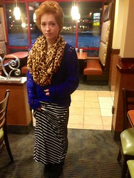 Abbie Marie - Target Favorite Blue Sweater, Target Striped Skirt, Minnetonka Moccasins Tramper Moccs - VIP paparazzi moment at your local Arby's