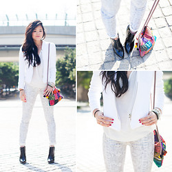 Nicole T - 7 For All Mankind Snakeskin Jeans, Zara Jacket, Nasty Gal Lace Top, Zara Booties - WHITE OUT