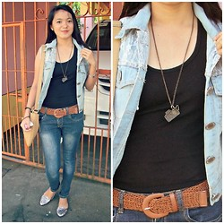 Amylene Aligan - Kaycee Vintage Camera Necklace, Lcc Accessories Knitted Belt, Lovewornvintage Boutique Denim Blazer, Other City Denim Pants, Thrifted Chic Metal Closed Toe Shiny Flat Shoes - Denim <3